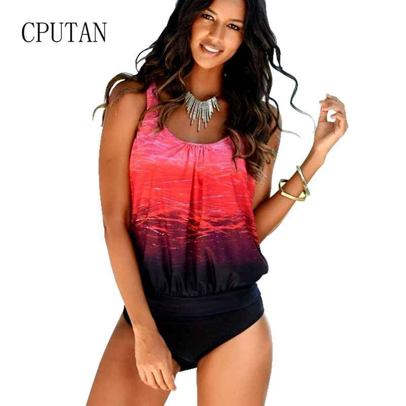 47bf0bf4487 Gradient Tankini Swimsuits Women 2019 Plus Size Sexy Swimwear Female  Vintage Sporty Two Piece swimming Suit