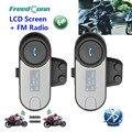 Frete Grátis!! 2 PCS Original FreedConn BT Interphone Bluetooth Capacete Da Motocicleta Intercom Headset com tela LCD + Rádio FM