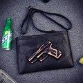 Mujer Negro Pistola Bolsas Embragues del Día del Bolso de La Manera Bolso de Las Mujeres de Muy Buen Gusto de La Vendimia Cremallera Bolsas de Mensajero 3D Pistola