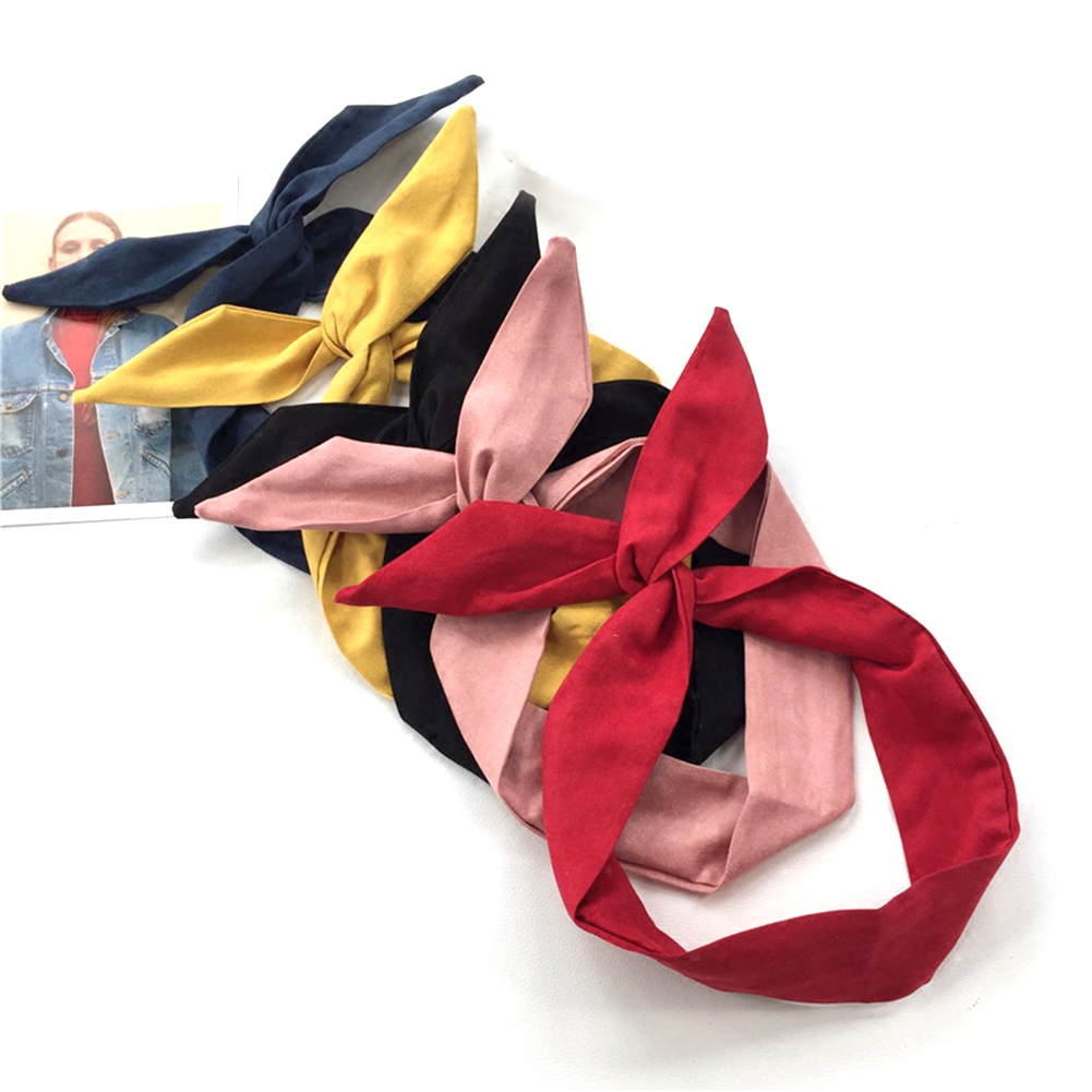 1PC Korean Suede Retro Solid Color Rabbit Ears Headbands Cross Bow Hairbands Metal Wire Scarf Headband Hair Band Accessories