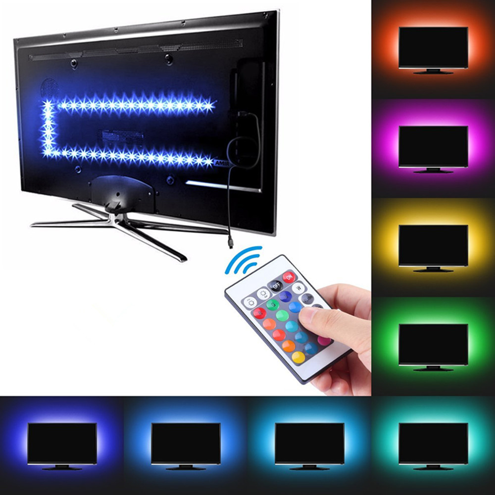 Us 4 57 Rgb Led Light Strip Usb Powered 5v Smd 5050 Flexible Waterproof Tv Back Light With 24 Keys Remote Control For Tv Background In Led Strips