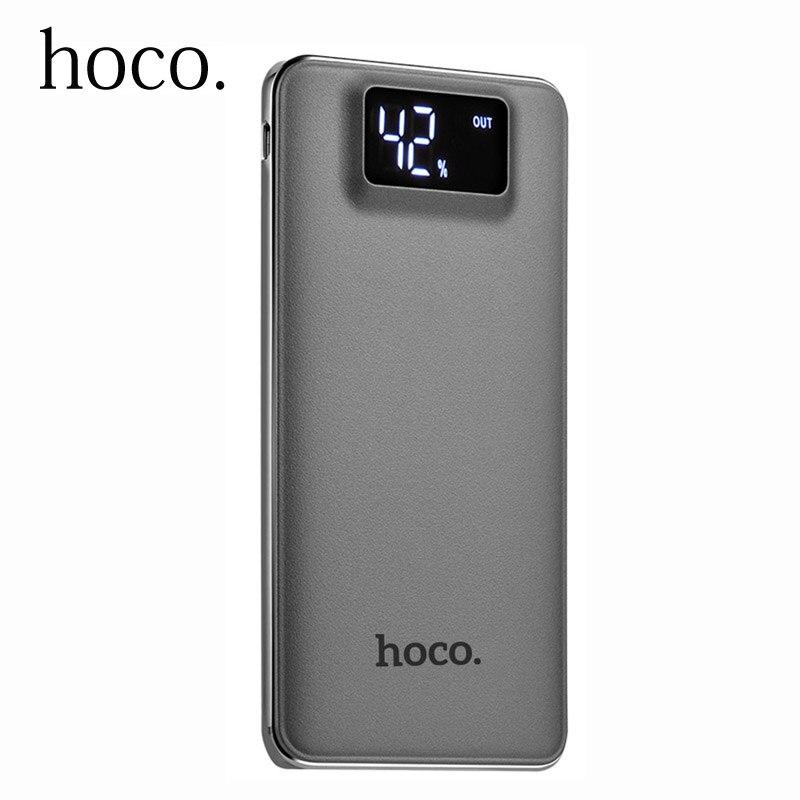 imágenes para Original hoco polímero banco de la energía 10000 mah lcd dual usb cargador portátil de batería externa powerbank para iphone xiaomi teléfono