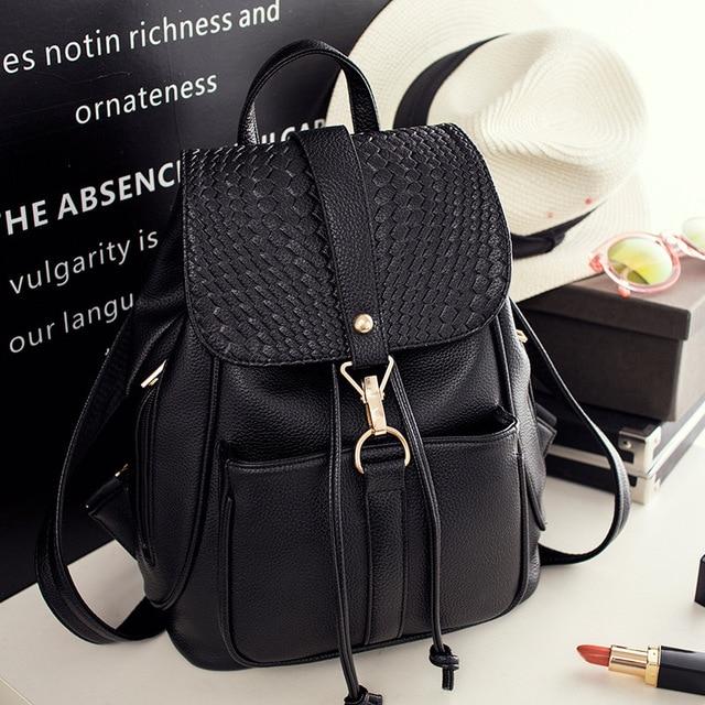 f92d1bc2bf22 2018 New Women Back Bag PU Leather Preppy Backpacks For Teenage Girls Lady  School Bags Black Casual Backpack Female Mochila