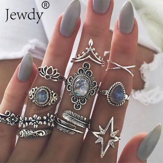11PCS/SET Vintage Blue Crystal Rings Set for Women Silver Lotus Feather Boho Mid