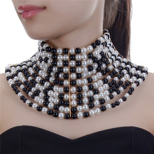 Imitation Pearl Statement Choker Necklaces For Women Collar Beads Necklace Wedding Dress Beaded Jewelry UKNE