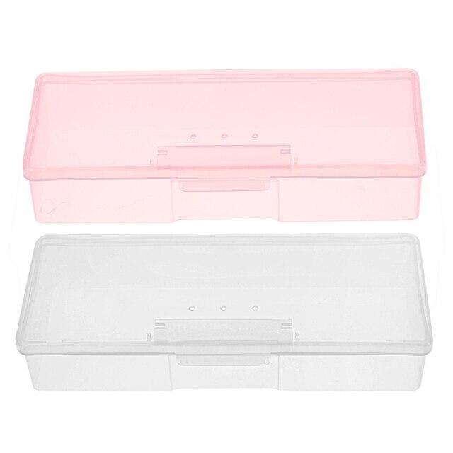 Пластиковые прозрачные ногтей инструменты ящик для хранения ногтей горный хрусталь украшения буфера Файлы Шлифовальные Организатор Дело Box 193x80x39 мм