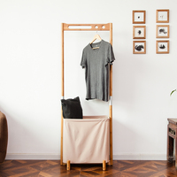ZEN S BAMBOO IDLE TIME Coat Rack Clothes And Hat Hanger Multi Functional Racks Living Room