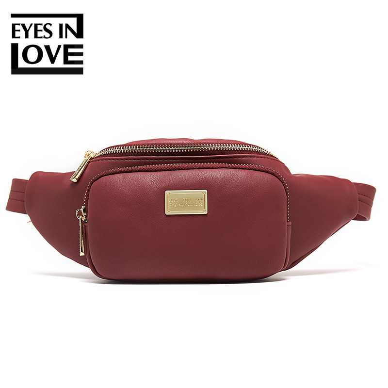 Eyes In Love New Women Waist Bag Leather Fanny Pack Large Capacity Fashion Chest Bag Travel Belt Bag High Quality Crossbody Bag