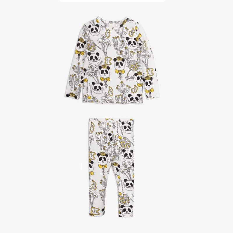 BOBOZONE panda print dress long-sleeve t-shirt pants for kids girls boys clothing splatter paint dot print long sleeve shirt