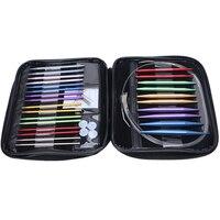13 x Aluminum Interchangeable Circular Knitting Needle Ring Set Kit Woven Tools
