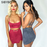 Sibybo Two Piece Set Criss Cross Party Dresses Women Strap Hollow Out Bodycon Mini Dress Sexy