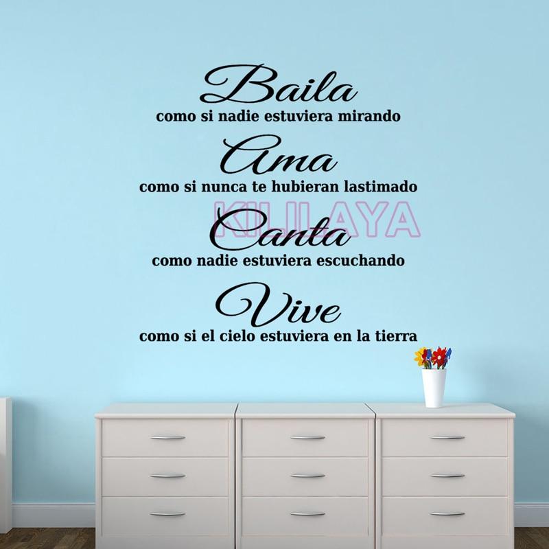 Spanisch motto Baila Ama Canta Vive Vinyl Wandaufkleber Für ...