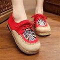Estilo étnico bordado de linho plus size sapatos 2017 outono novas mulheres de alta qualidade sapatos de lona retro sapatas das mulheres