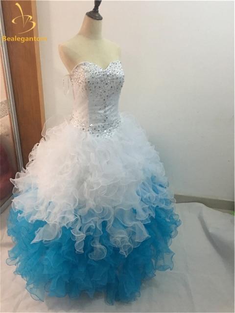 a41fc5079 Nueva elegante Blanco azul Vestidos De quinceañera 2018 bola rizó rebordear  cristales 15 años Vestidos