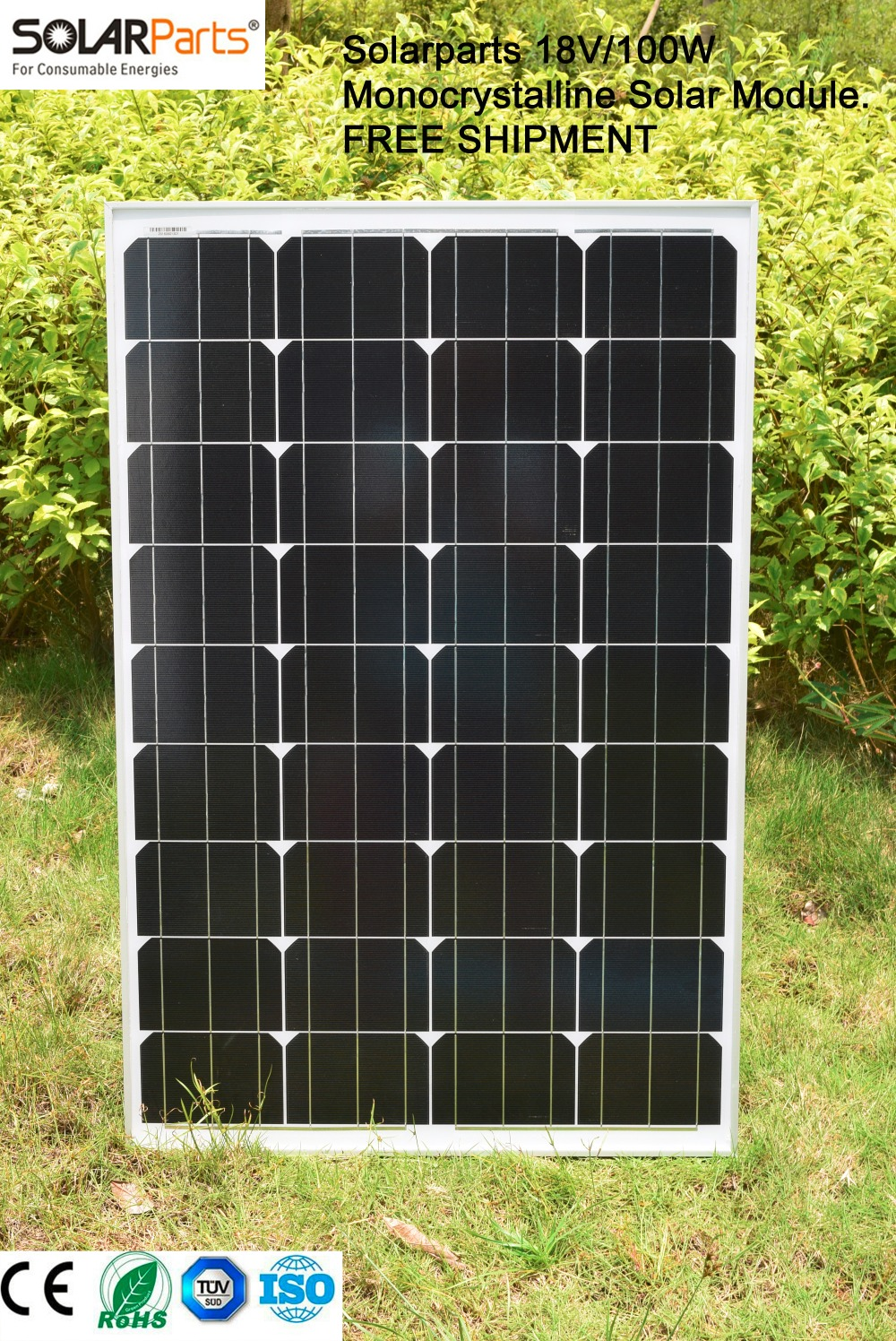 Solarparts 1x 100W Monocrystalline Solar Module by mono solar cell factory cheap selling 12V solar panel for RV/Marine/Boat use.