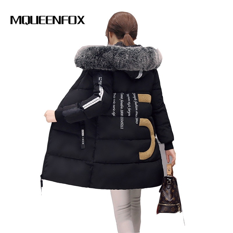 MQUEENFOX 2017 Women Fur Collar Hood Parka Snow Wear Winter Women Jacket Zipper Long Jacket Thick Femme Outwear Cotton Coat snow wear 2017 high quality winter women jacket cotton coats fur collar hooded parkas fashion long thick femme outwear cm1346