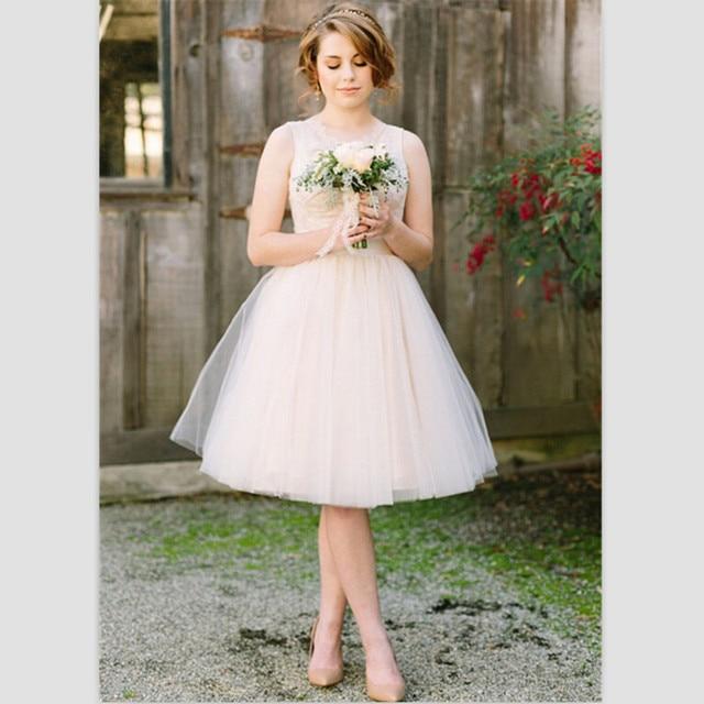 2015 new white lace short wedding dresses nice knee length beach