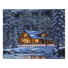 WEEN Winter Snow House DIY Oil Painting By Numbers for Adults, Paint By Number Kit On Canvas,Wall picture,Acrylic Paint 40X50CM