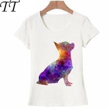 I love Chihuahua en Camiseta de acuarela Camiseta para mujer de verano estrella perro de colores imprimir Tops novedad mujer Tees linda chica Camiseta