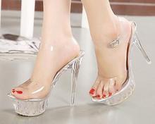 Сандалии женщин Платформы модель T Сценическое Шоу Сексуальные Туфли на Высоком каблуке 14 см Высокий Прозрачный Кристалл Водонепроницаемый Плюс Размер 35-43
