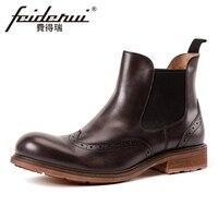 Новые винтажные мужские ботинки «Челси» из натуральной кожи, с резным узором, с круглым носком, с перфорацией типа «броги» ручной работы, об