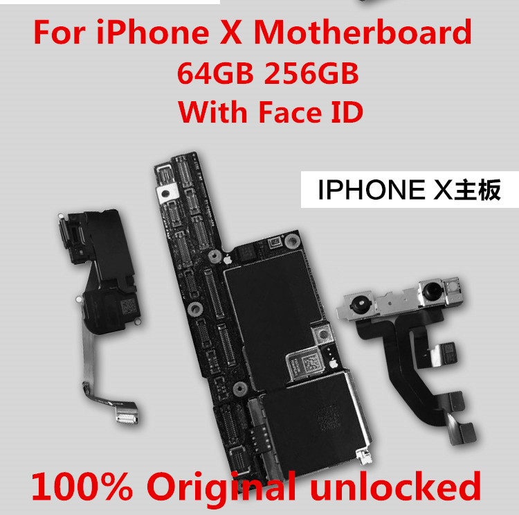 New  For iPhone X Motherboard unlocked100% Original for iphone x Logic board 256GB with Face ID +tool+gi