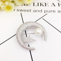 New Arrival Elegant Trendy Freshwater Pearl Star Moon Brooches Bouquet For Women Zircon Brooch Scarf Pins
