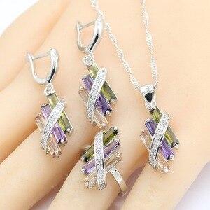 Image 2 - 925 conjuntos de jóias de noiva de prata para o casamento feminino multi cor zircão brincos pulseira colar pingente caixa presente