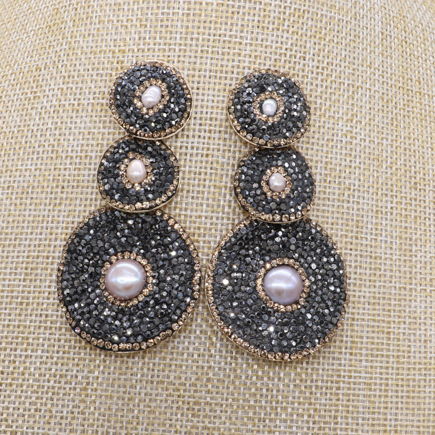 Geometric 3 Round earrings with small pearl black round beads Rhinestone  dangle earrings drop earrings Gems stone jewelry 1186 Ювелирное изделие