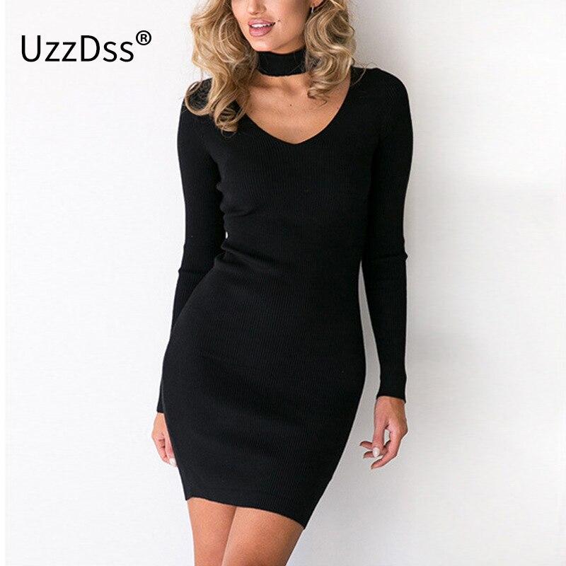 UZZDSS Vestuário Outono Sexy Halter Vestido Feito Malha Das Mulheres de Inverno Elegante Vestido Bodycon Casual Vestidos Curto Vestidos de Camisola Preta