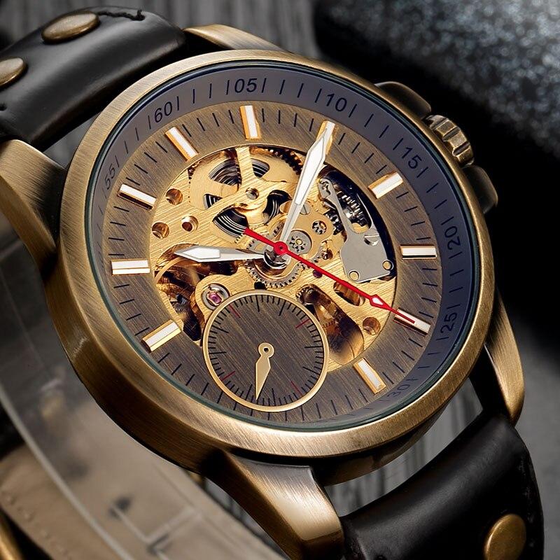 Men Mechanical Watch Automatic Watch Skeleton Self Winding Men Watches Bronze Leather Steampunk Transparent Wristwatch Clock Men 5