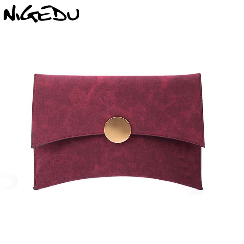 NIGEDU Design Women Clutch Bag Faux Suede Ladies Shoulder Bag female evening bags Matte Leather Chains Envelope Crossbody Bag retro women s crossbody bag with hasp and suede design