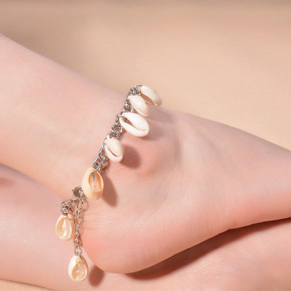 Jinse Ak135 Summer Seashell Ankle Bracelets Foot Jewelry Silver
