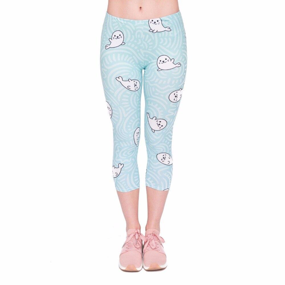 Summer Hot Sales Women Capri Leggings Little Sea Lion Printing Sexy Mid-Calf 3/4 Fitness Movement Leggins Capri Pants