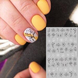 Image 2 - 1 arkusz kwiaty 3D naklejka do paznokci czarna linia paznokci artystyczny Design liść kwiaty lilia tulipan paznokcie naklejki dla dzieci DIY dekoracje
