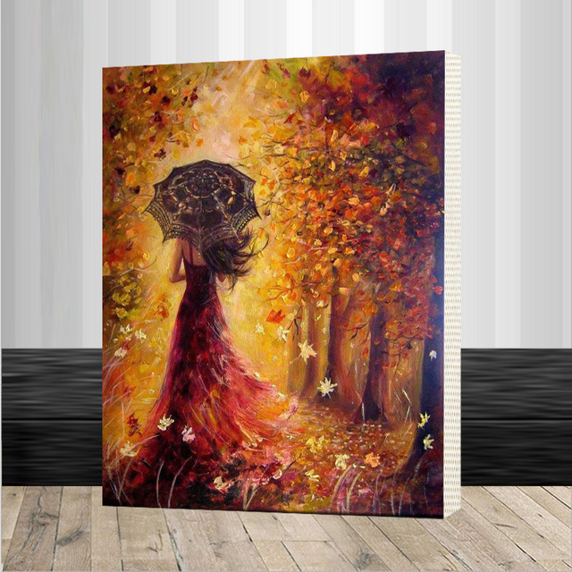 Beautiful Women Autumn Landscape DIY Painting By Numbers Kits ...