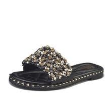 2018 Damenschuhe Damen Outdoorschuhe Strass Halskette Sequin Kristalldiamanten Comfort Anti-Rutsch-Sandalen Frau Pantoffeln