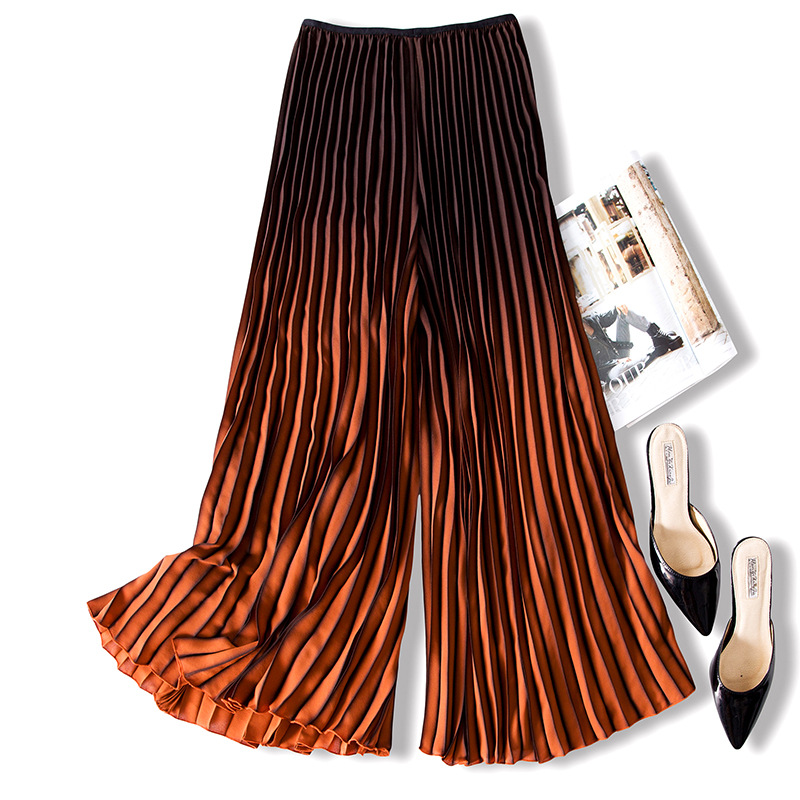 Changppleat 2018 New Gradient women   wide     leg     pants   Miyak Pleated Design loose Elastic waist Copped Female   Pants   Fashion Tide P79