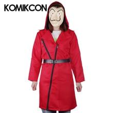 La Casa De Papel Dali Cosplay Costume Money Heist Dress Red Long Jacket Mask Belt Suits Men Women Coat Halloween Party Dresses red fox ремень money belt