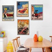 MONACO 1937 viejo tiempo viaje arte de coches diseño clásico Vintage Poster papel kraft pintura DIY arte hogar Bar carteles de decoración
