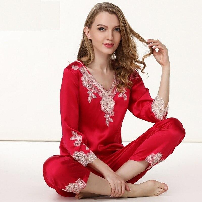 Для женщин шелковой атласной пижамы женские красные свадебные шелковые Пижамы для девочек женские пижамы плюс Размеры Кружево принт Для же