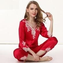 women silk Satin Sleepwear Female red wedding Silk Pajama Sets Ladies Pyjamas Plus Size Lace Print Women Home Clothing Homewear