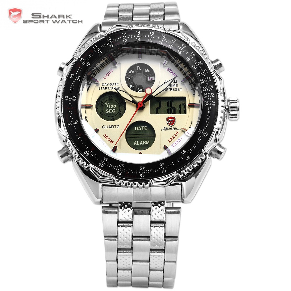 Eightgill Shark Sport Watch Digital Analog Date Stainless Steel Case Chronograph Black White Quartz Men Wrist