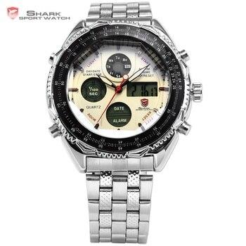 Ocho tiburón deporte reloj analógico Digital fecha caja de acero inoxidable  cronógrafo negro blanco hombres del cuarzo relojes REGALO SH109 d1dca6f4befc