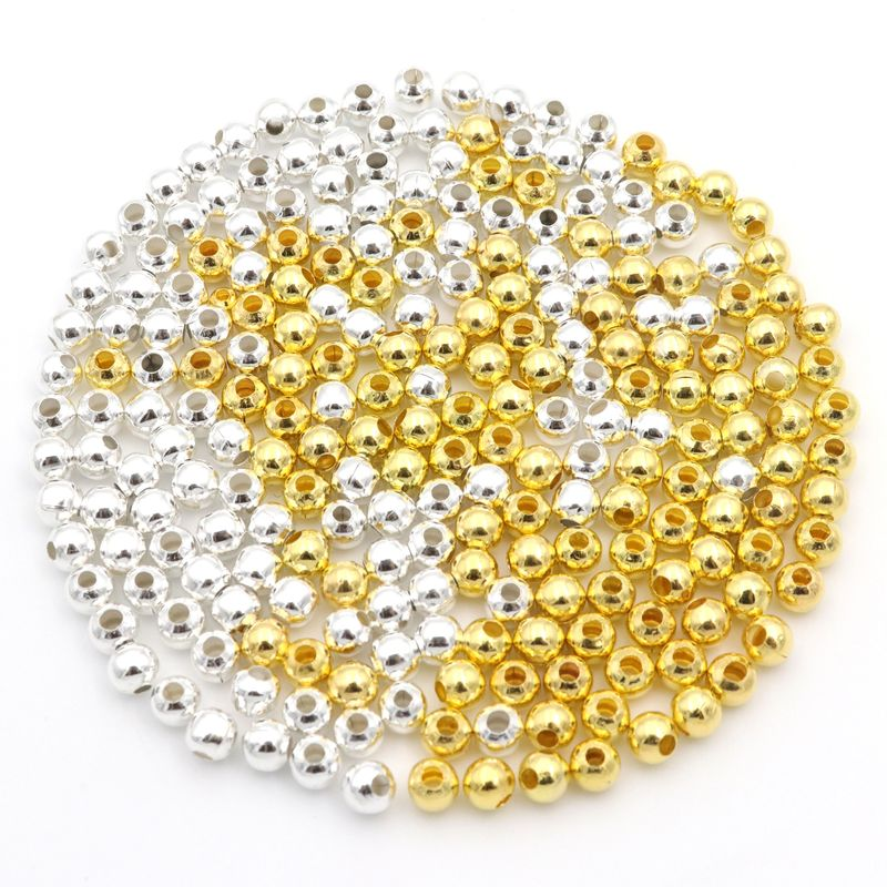 100 Metallic Acrylic Smooth Round Beads 10mm  Spacer Silver Gold Color