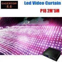Дешевая цена Pitch18 2 м * 5 м светодиодный видео занавес с выключенным контроллером СВЕТОДИОДНЫЙ занавес с графическим узором, будка диджея фот