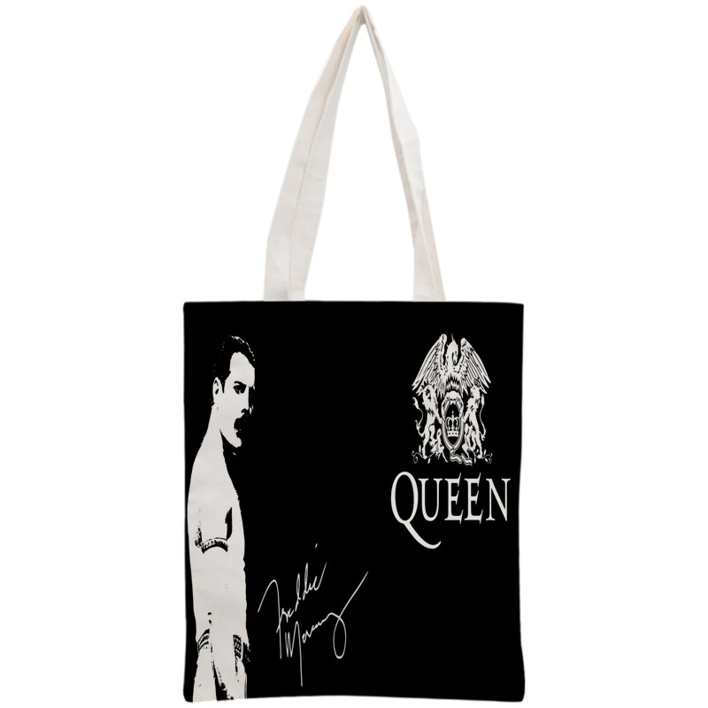 Custom Queen Tote Bag Reusable 30x35cm Two Sides Handbag Shoulder Pouch Foldable Canvas Shopping Bags
