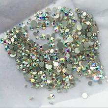 High quality 1000PCS Mix Sizes Crystal Clear AB Non Hotfix Flatback Nail Rhinestones For Nails 3D Nail Art Decoration Gems