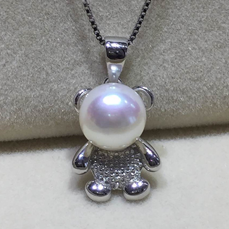 Eternal wedding Women Gift word 925 Sterling silver real Natural pearl necklace, 925 Sterling Silver Bear Pendant, brief, short 2017 real 925 sterling silver