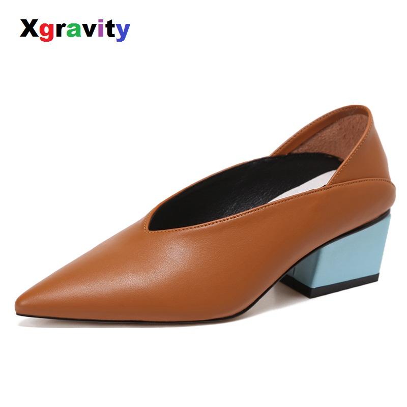 Xgravity 4 Colors Size 34-40 Genuine Leather Chunky Abnormal Mid-Heeled Women Shoes Pointed Toe Dress Sexy V Design Shoes C023 abnormal psychology 4e